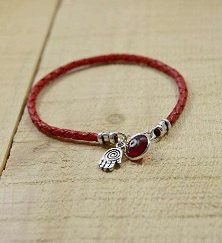 MIZZE Made for Luck Spiral Hamsa for Protection in Sterling Silver on Red Braided Leather Bracelet 7""