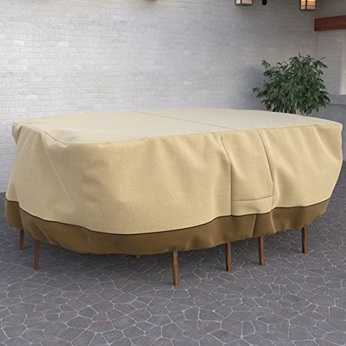 Dura Covers Fade Proof Heavy Duty Oval or Rectangular Patio Table and Chair Set Cover - Durable and Water Resistant Outdoor Furniture Cover, Pebble, Large, up to 108 Inches Long