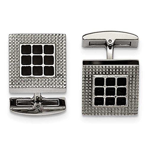 En acier inoxydable poli carré boutons de manchette en caoutchouc noir