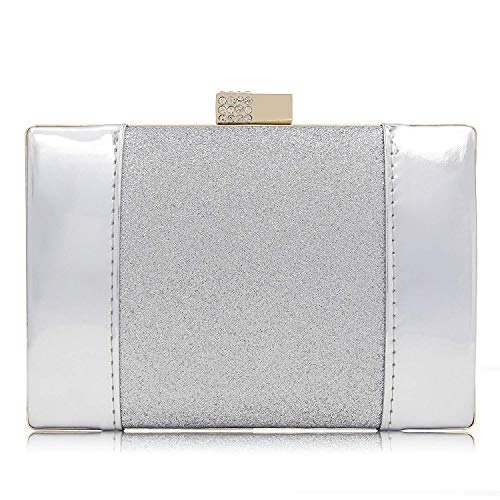 Wristlet Mesh Metal (Women Clutches Glitter Clutch Purses Crystal Patent Leather Evening Shoulder Bags (Silver))