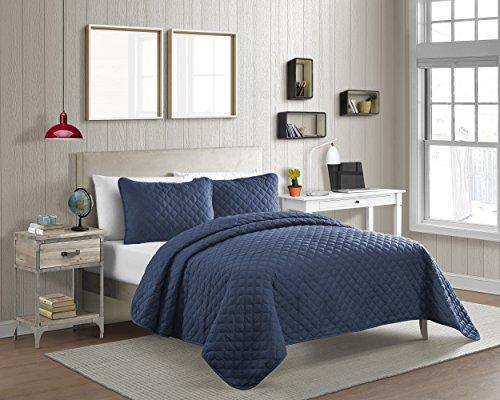 (Cozy Bed Vibrant Color Solid Pinsonic Diamond Quilt Set, Twin/2Piece, Navy, 2 Piece)