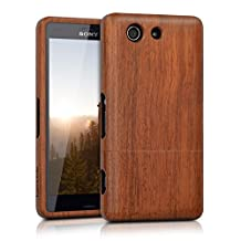 kwmobile Natural wood case for the Sony Xperia Z3 Compact in rosewood brown