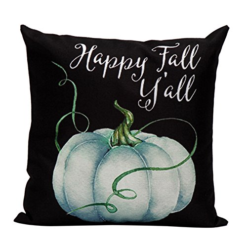 (Aremazing White Linen Home Office Decorative Pillowcase Throw Pillow Cushion Cover 18 x 18 Inches Halloween Pumpkin & Cat)