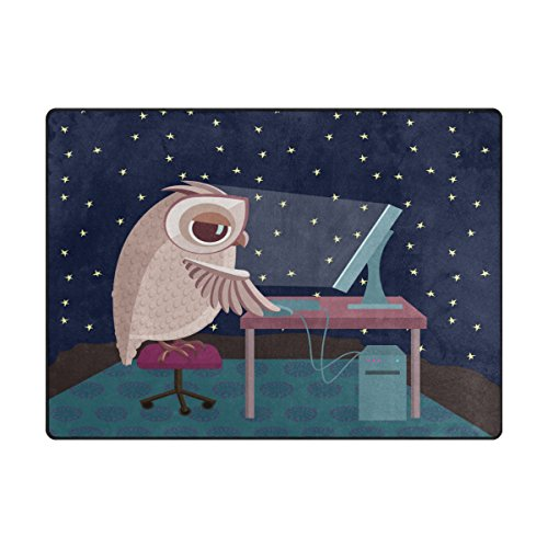 Cheap Chen Miranda Owl Working On The Computer At Night Modern Area Rugs Living Room Carpets iSutable for Comfy Bedroom Home Decorate Kids Playing Mat Nursery Rugs 80 x 58 inch Lightweight Foam Printed Rug