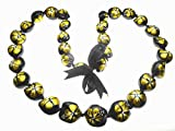 Aloha Passion Hawaiian Style Kukui Nut Lei, Hand Painted Gold Color Hibiscus 32 Inches