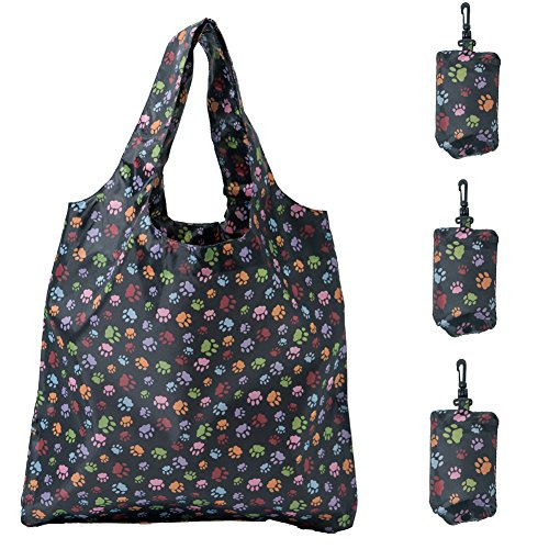 (HOLYLUCK Set of 3 Reusable Grocery Bags,Heavy Duty Foldable Shopping Tote Bag, Holds Up To 42 lbs-Dog Paw Prints)