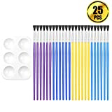 BTNOW 24 Piece Assorted Color Children's Paint Brush Set with One White Color Platte