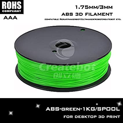 de color verde reprap abs 1,75 mm / 3 mm de filamento extrusora ...
