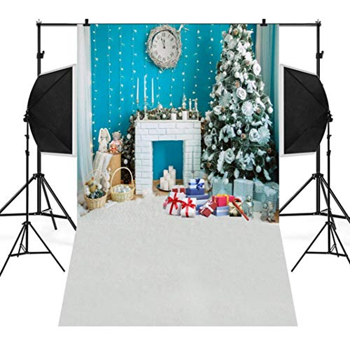 Wensltd Clearance! Christmas Backdrops Tree Vinyl 3x5FT Fireplace Background Photography Studio (R)