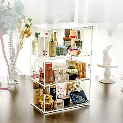 化粧品収納ボックス 家庭用化粧品収納ボックススキンケアディスプレイスタンド多層収納ボックス透明プッシュプルリムーバブルアクリル素材プラスチックハンドル透明 SPFOZ