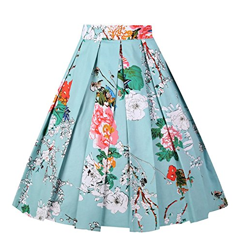 Dresstore Vintage Pleated Skirt Floral A-line Printed Midi Skirts with Pockets Flowers-Birds-XX-L
