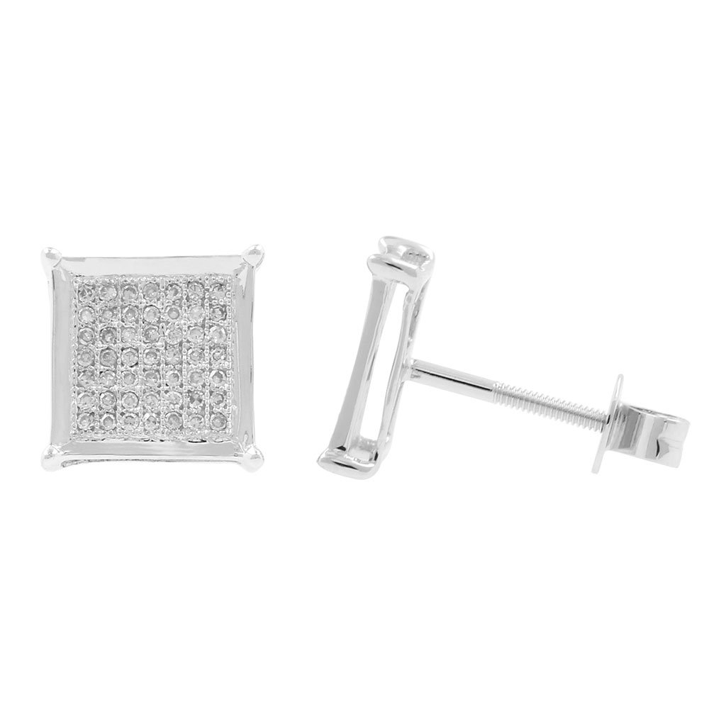 0.22ct Diamond 8.75mm Wide Square Shape Mens Iced Stud Earrings in 10kt White Gold-1/5 CTTW (H-I, I1-I2)