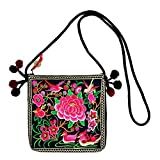 JOE COOL Shoulder Bag Embroidered Flower Made with Cotton by