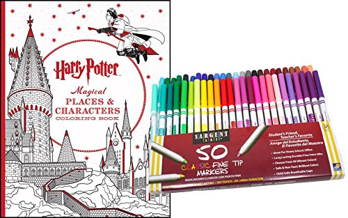 Harry Potter Magical Places & Characters Coloring Book & 50 Sargent Fine Tip Marker Pens Kit, Gift Set – Color Your Favorite Magical Hogwarts Scenes & Creatures - For Adults & Kids (Halloween Potion Making Games)