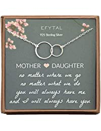Gifts for Mom and Daughter, Sterling Silver Infinity Mother's Day Gift, 2 Interlocking Circles Necklace