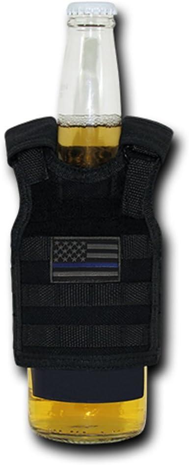 USA US American Flag Tactical Patriotic Tactical Vest Beer Military Bottle Can Cooler Keeper Holder Sleeve Beverage Carrier (T99 - Regular, Black TBL)