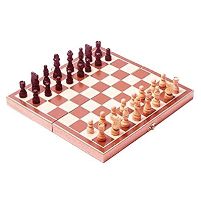 Starnk Chess Board Set, Deluxe Folding Tournament Game Board with Storage Bags and Genuine Intricately Carved Stained Wood Pieces, Great for Travel Special Gift For crismas day By
