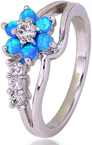 Women Rings Blue Stone Created Opals Cubic Zirconia Rhodium Plated Flower Shaped Party Jewelry Size 6 7 8