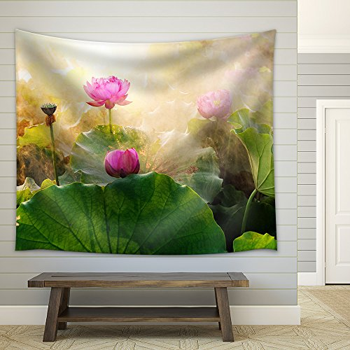 Beautiful Lotus Flower in Blooming at Sunset Fabric Wall