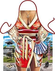 Rahmenlos–Delantal con diseño–Geisha–Delantal,, hornear, regalo, cumpleaños–con gratis Urkunde