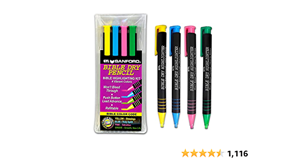 G.T. Luscombe Company, Inc. Bible Dry Highlighting Kit | No Bleed Eco-Friendly Refillable Dry Highlighters | No Sharpening | No Smearing or Fading | Vibrant Colors Yellow, Blue, Pink, Green (Set of 4)