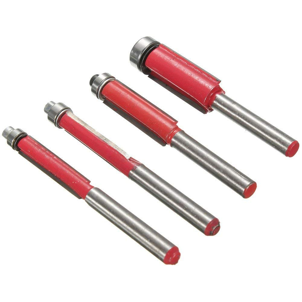 Bestgle Set of 4 Top Bearing Flush Trim Router Bit Set 1/4'' 5/16'' 3/8'' 1/2'' Cutting Diameter Carpenter Woodworking Tools, 1/4 Inch Shank by Bestgle (Image #9)