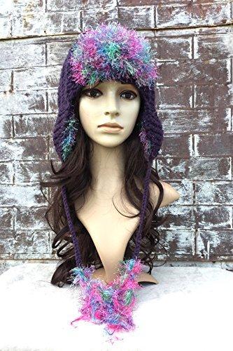 - EAR FLAP HAT, Earflap Hat Fur, Trapper Hat Fur, Hand knit Hat,
