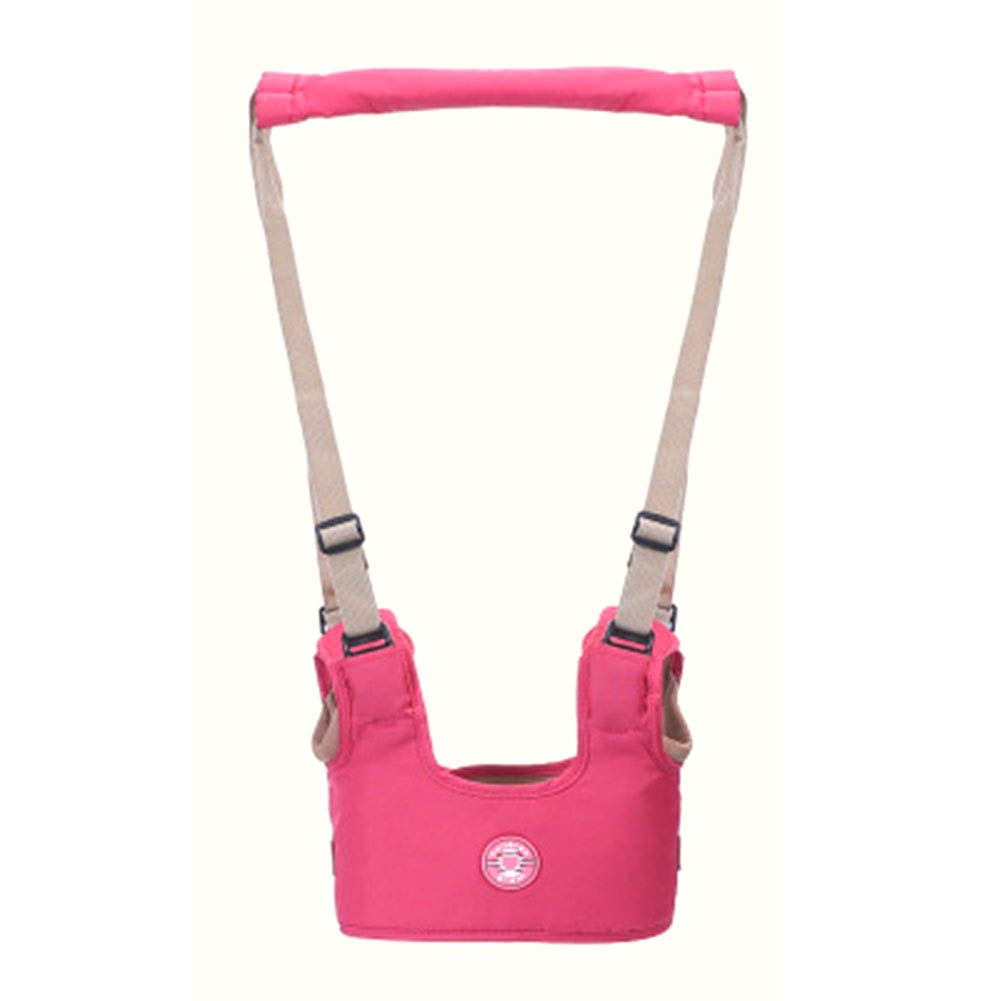 Hand-held Baby Walker Toddle Walking Safety Belt Assistant Walk Learning Helper Protective Strap,Breathable Rose Red