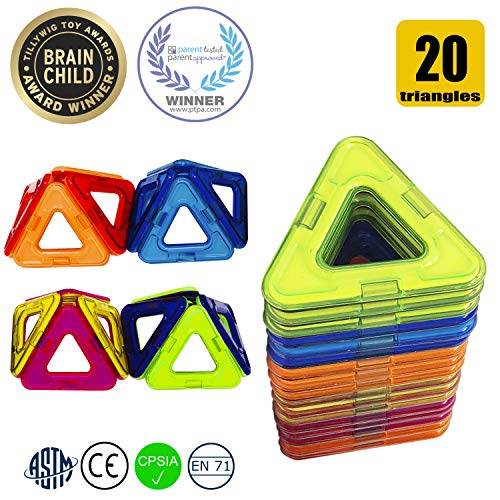 (HAPPY GENIUS Magnetic Blocks Beyond Magnetic Tiles - 20 PCS Triangle Set Fully Compatible with Most Magnetic Building Blocks for Kids Preschoolers Teens Ideal Essential)