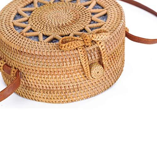 BHM Women's Bag, Rattan Bag - Hollow Sun Flower Slung Travel Bag - Beach Bag - Straw Bag - Hand-Woven Bag,B by BHM (Image #1)