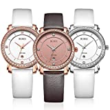 BUREI Womens Stylish Quartz Watches with Scratch Resistant Window Leather Band