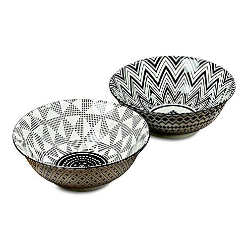 6 Summertime Ikat Bowls, Black and White, Vibrant Dots and Stripe Pattern, Set of 6, 3 of Each Style, Footed Base, Porcelain, 8 Inch Diameter, 30 Fluid Ounces (Dishes Ikat)