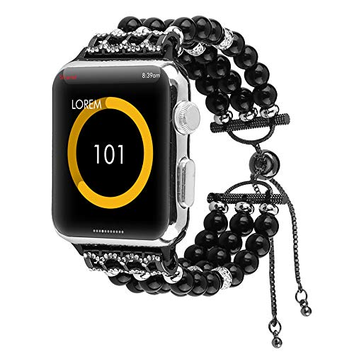 (KXIN Applicable to Apple Watch 1, 2, 3, 4 Straps, Women's Strap Pearl Trim, Adjustable, Iwatch Size 38Mm, 42Mm, 40Mm, 44Mm,Black,38Mm)