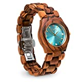 Emolly Womens Premium Zebra Wood Watch -Gift Ready in a Beautiful Wooden Box - Turquoise Dial Contrasted with Wood for a Unique Look That Gets Noticed - Softer on Skin Than Metal -For Teens and Adults