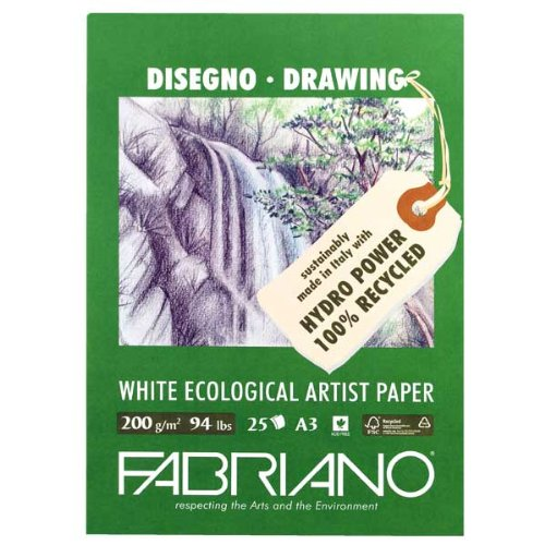 Fabriano Ecowhite Drawing Pad 11.7X16.5 Inches