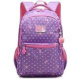 Childrens School Bag Backpack for Primary Girls 7-12 years old, Uniuooi Waterproof Nylon Kids Ergonomic Book Bag Daypack Travel Rucksack (Purple)