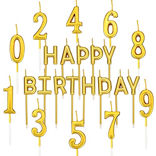 BBTO 23 Pieces Birthday Cake Candles Include 10 Pieces Birthday Numeral Candles Number 0-9 Cake Candles, 13 Pieces Letter Candles for Birthday Party Favors -