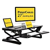 PrimeCables 27-Inch Platform Height Adjustable Standing Desk, Gas Spring Structure Sit to Standing Desk Riser with Removable Keyboard Tray, Ergonomic, Sturdy, Black (Cab-MT101-S-BK)