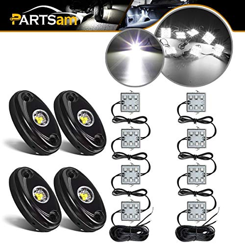 Partsam 4PCS 4 Pods LED Rock Light Kits White + LED Truck Bed Light 8pods White LED Kit Waterproof Replacement for Jeep TJ JK Ford F150 F250 Truck Pickup Cargo Trailer RVs Boat TV UTV RZR Pioneer