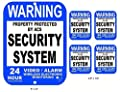 5-Pcs Glistening Unique Warning Property Protected Security System 24 Hour Police Dispatched Video Alarm Wireless Electronic Monitoring Sign Home Surveillance Signs 1-Large Aluminum 4-Small Sticker