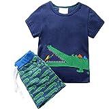 Toddler Boys Crocodile Summer Tee and Shorts Pants Set 6t
