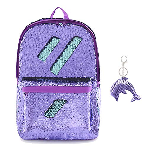Flip Glitter Mermaid School Bag Magic Reversible Sequin Backpack for Girls ( PURPLE) d05816c308dec