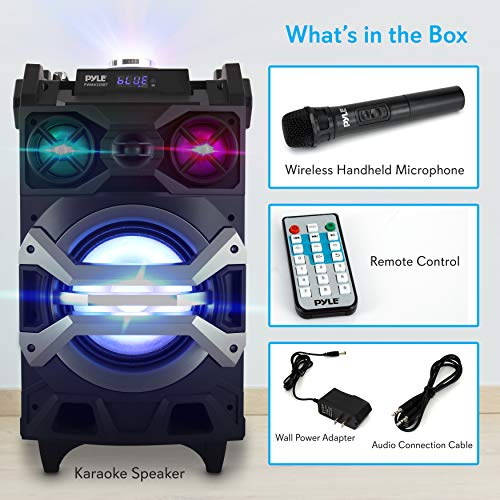 Pyle 500 Watt Outdoor Portable BT Connectivity Karaoke Speaker System - PA Stereo with 8'' Subwoofer, DJ Lights Rechargeable Battery Microphone, Recording Ability, MP3/USB/SD/FM Radio - PWMA325BT by Pyle (Image #7)