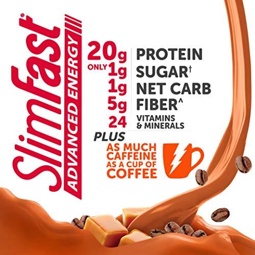 ارخص مكان يبيع SlimFast Advanced Energy Caramel Latte Shake – Ready to Drink Meal Replacement – 20g of Protein, 11 fl oz. Bottle – 12 Count