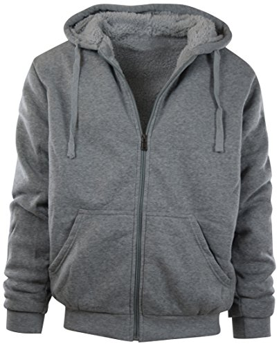 - Mens Full Zipper Fleece Basic Hoodie with Lining to Choose from (S, 91008-GREY)