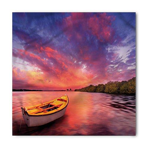 Ambesonne Sunset Bandana, Sea Coast with a Rowboat, Unisex Head and Neck ()