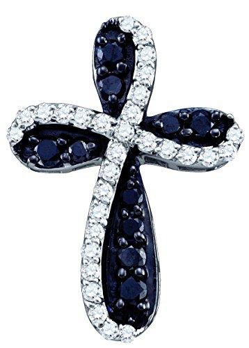 Black Diamond 10k White Gold Cross Christian Crucifix Necklace Pendant 7/8 Ctw. ()