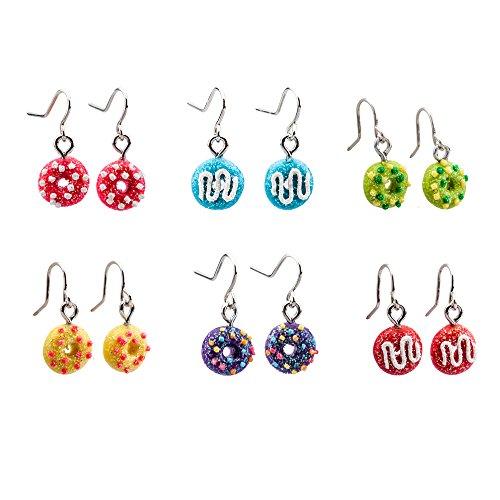 minihope Drop Earrings for Girls – Donut Shaped Drop Earrings for kids – Made of Polymer Clay – Children's earrings - 6 Pairs - Kid Drop