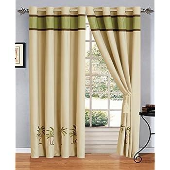 Amazon Com Classic Palm Tree Curtain Set W Valance Sheer