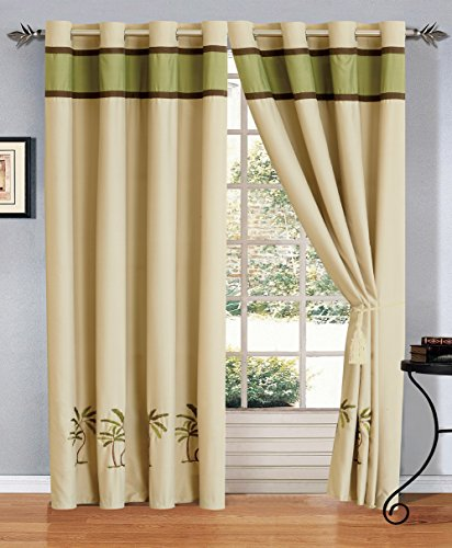4 Piece Sage Green Beige Brown Tropical Palm Tree